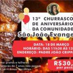 Churrasco em comemoração ao aniversário da comunidade São João Evangelista