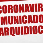 Coronavírus: Comunicado da Arquidiocese