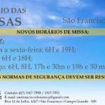 ATENÇÃO: Horários de missa aos domingos voltam para os horários normais
